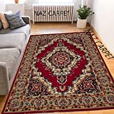 #3: NAZ CARPET INDUSTRIES'S SOFT ACRYLIC WOOL MOST SELLING DESIGN CARPETS FOR YOUR BEDROOM AND LIVING ROOM RED/MULTI (150x200cm) 5 Feet by 7 Feet