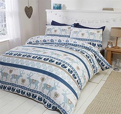 Christmas Hearts 100% Brushed Cotton Flannelette Quilt Duvet Cover and 2 Pillowcase Bedding Bed Set, Blue/Multi-Colour