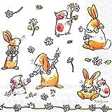 Confezione da 20 tovaglioli da pranzo 3 veli con motivo pasquale Coniglietti e Margherite (33 x 33cm)