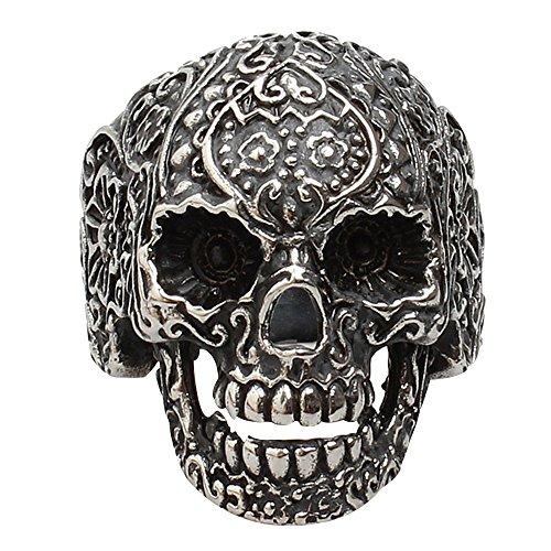 Contever® 316L Acero Inoxidable de la Manera Hombres de la Joyería del Punk Floral del Anillo del Motorista del Cráneo Banda Tamaño 12 #