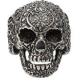 Contever® 316L Acero Inoxidable de la Manera Hombres de la Joyería del Punk Floral del Anillo del Motorista del Cráneo Banda Tamaño 8 #