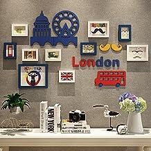 Foto parete / portafoto cornice / cornice combinazione di cornice in legno massello creativo decorativo pittura 5 pollici 10 pollici 7 pollici ( Color : Blue and white )