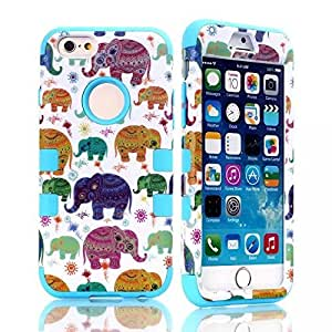 Lovely Dumbo Elephant Bright Color Double Layer Hard Shell Case with Soft Protective Inner Cushion Layer for iPhone 6 (GJ-I6-A17)