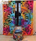 NANDNANDINI TEXTILE - Sonne und Mond Tapisserie Vorhang Chakra Vorhang Meditation Drapieren Set Mandala Indian Tapestry Tür Vorhang New Window Zimmer Vorhang Teiler Werfen Panel Set