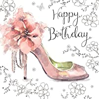 Twizler Happy Birthday Card for Her with Silver Foiling, Unique Watercolour Effect and Pink Shoe - Female Birthday Card - Womens Birthday Card - Ladies Birthday Card