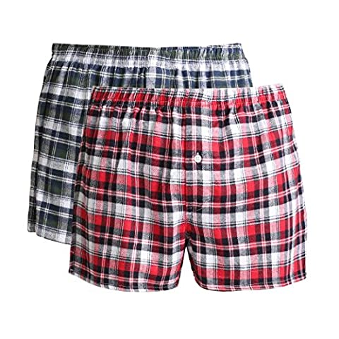 Lower East Men's Flannel Boxer Shorts, set of 2, Multicolored, 3XL
