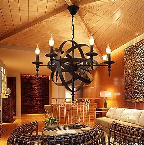 GFFORT rétro éolien industriel américain salon lustre 220v Cafe Restaurant personnalité créative nordique Lustre de bougie décorative en fer forgé, * 6 E14, diamètre 65cm élevé 50cm