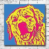 Retriever cane grande tela stampe. Pop Art Decor amanti degli animali Pet divertente regalo, Blue Pink, 30 x 30