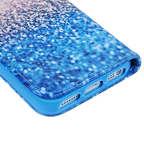 iPhone 5/5S Hülle Kasos iPhone 5/5S Case PU Ledertasche Handyhülle Gemalt Blumenfeld Muster Book Type Smart Cover Schutzhülle Flipcase Blumenfeld