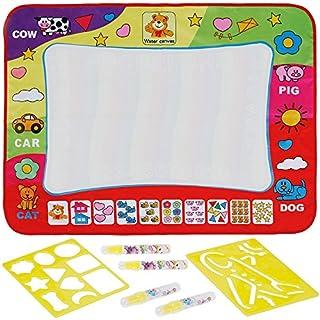 Anpro Wasser Zeichnung Matte, 4 Wasser Stifte mit 2 Zeichnungsvorlagen, Wasser Malmatte für baby kinder, 80×60cm