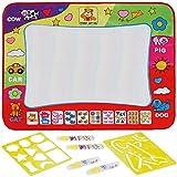 Anpro Wasser Zeichnung Matte, 4 Wasser Stifte mit 2 Zeichnungsvorlagen, Wasser Malmatte für baby kinder, 80×59cm