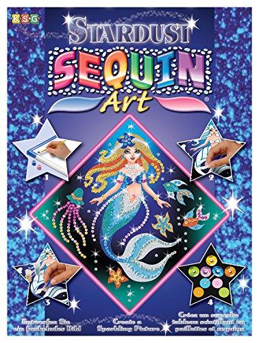 MAMMUT 8161013 - Sequin Art Stardust Paillettenbild, Meerjungfrau, Steckset mit Styropor-Rahmen, Bildvorlage, Pailletten, Glitzersand, Acrylfarbe Bastelset für Kinder ab 6 Jahre -