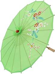 Flor Del Ciruelo Pattern Bambú Chinese Baile Paraguas Parasol Verde