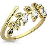 Autiga Anillo de punta de dedo, anillo de uñas midi para nudillos, anillo de dedo del pie, hoja dorada