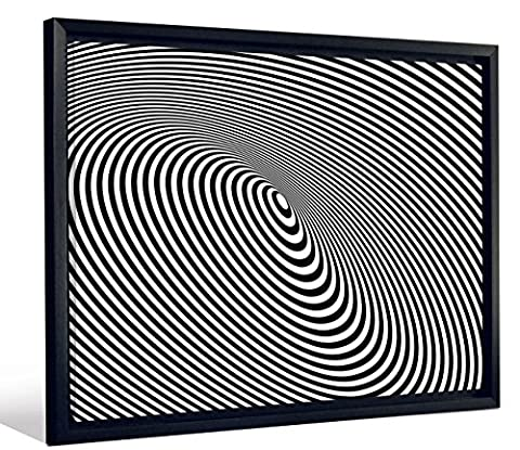 JP London Framed Linear Optical Illusion Black and White Gallery Wrap Heavyweight Canvas Art Wall Decor, 26.375