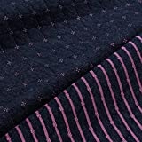 Stoff Baumwolle Polyester double face Jersey dunkelblau pink Stepper Streifen