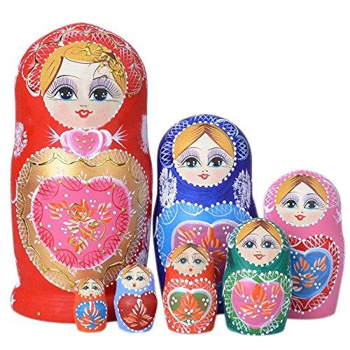 Domeilleur Neue 7pcs / Set hölzerne russische Verschachtelungs-Puppen getrocknetes Basswood-traditionelle authentische handgemachte Matryoshka Puppe scherzt Geschenk