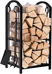 Amagabeli Kaminbesteck Kaminholzständer mit 4 Werkzeugen für Innen Außen 74 x 40 x 30cm Kaminholzhalter Holzregal für Kamin