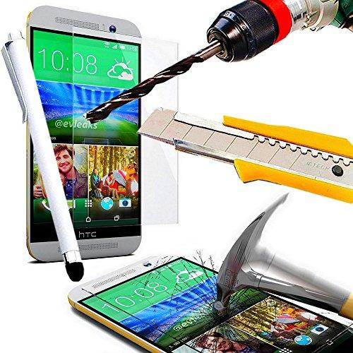A&D® FILM PROTECTION Ecran en VERRE Trempé HTC ONE M9 filtre protecteur d'écran INVISIBLE & INRAYABLE vitre INCASSABLE pour Smartphone HTC M9 dual double sim 4G (+ STYLET BLANC)