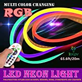 LED NEON LIGHT, IEKOV™ AC 220V Flexible RGB LED Neon Light Strip, 60 LEDs/M, Waterproof, Multi Color Changing 5050 SMD LED Rope Light + Remote Controller for Party Decoration (65.6ft/20m)