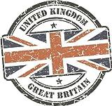 Great Britain United Kingdom Flag Travel Retro Grunge Stamp Alta Calidad De Coche De Parachoques Etiqueta Engomada 12 x 12 cm