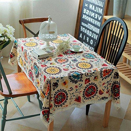 Pingenaneer Leinen Tischdecke Retro Böhmen Sonnenblume Stil mit Spitzen Gartentischdecke...