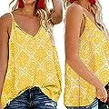 Hybreace Women Printing V Neck Sleeveless Tank Tops Boho Vest for Summer Beach Party