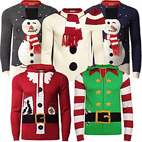 Mens Ladies Christmas Jumper 3D Xmas Novelty Santa Elf Snowman Threadbare, Santa Red IMT 165, Small