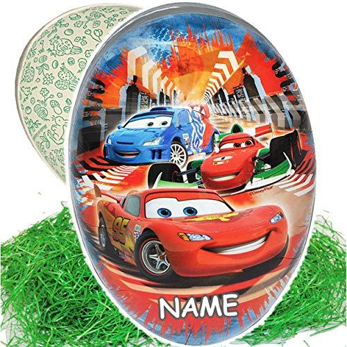 Set _ Ostergras & 3 Füll - Papper - 18 cm - Disney - Cars - Auto - Lightning McQueen - inkl. Name - Osterei / Ei zum befüllen - Deko Pappe Papp Pappeier Dekoe.. ()