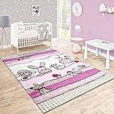Kinderteppich Kinderzimmer Konturenschnitt Farm Tiere Pink Rosa Pastellfarben, Grösse:Ø 120 cm Rund