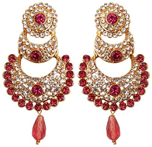 Touchstone indischen Bollywood weiß Kristalle und Pink Fuchsia chaand Bali Mond Designer Schmuck Kronleuchter Ohrringe für Damen in Antik Gold Ton. (Designer Ohrringe)