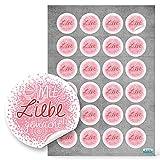 96 kleine runde rosa pink rot Mit LIEBE gemacht Aufkleber Sticker selbstklebende Etiketten für selbst Gemachtes anstelle selbstgemacht Handarbeit handgemacht eigene Herzstellung Verpackung