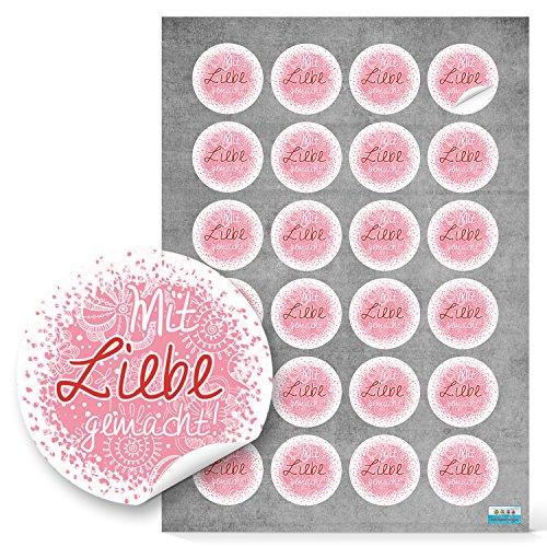 24 kleine runde rosa pink rot Mit LIEBE gemacht Aufkleber Sticker selbstklebende Etiketten für selbst Gemachtes anstelle selbstgemacht Handarbeit handgemacht eigene Herzstellung Verpackung