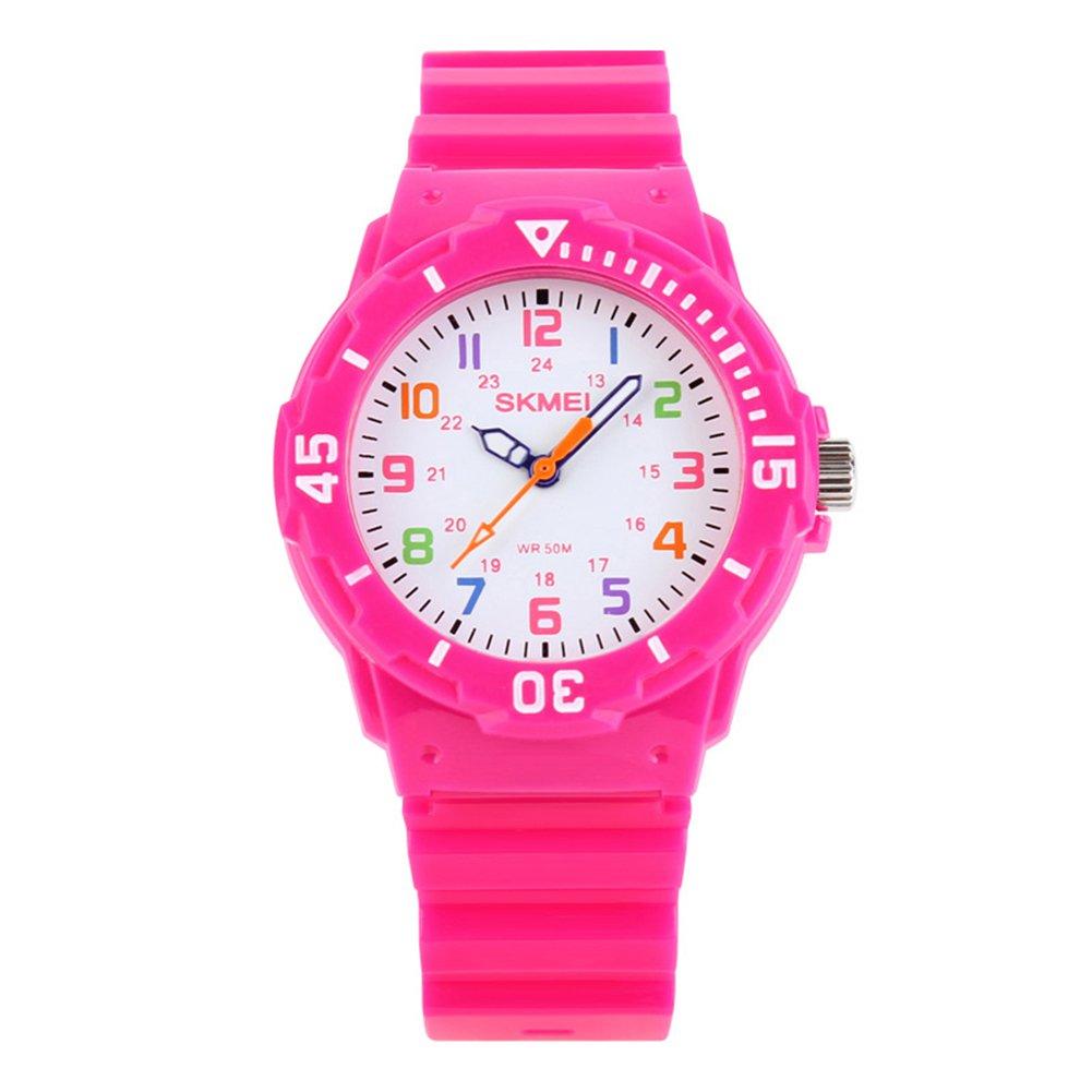 Kids Analogue Quartz Watches – Girls 5 ATM Waterproof Time Teacher Watches, Sport Digital Wrist Watch with Rotatable Compass for Children