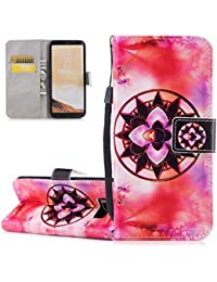 Galaxy S8 Plus Case, Galaxy S8 Plus Wallet Case, ISAKEN [Shock-Absorption] Magnetic Folder Card Holders Money Pouch, PU Leather Wallet Case Purse Protective Cover Stand Function Flip Folio Book Case with Strap for Samsung Galaxy S8 Plus - Mandala