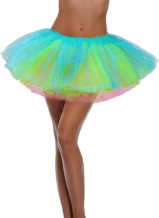 Ruiuzi Gonna Tutu per Teenager per Adulti Gonna Classica Tutu in Tulle a 4 Strati Elastico per Feste in Maschera Costumi di Halloween Danza