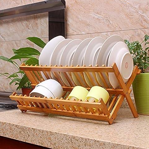 Mervy - Egouttoir à vaisselle, égouttoir pour assiettes, en bambou