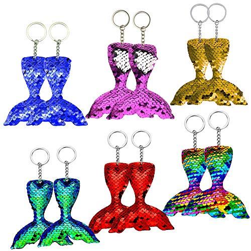 BESYZY 12 x Meerjungfrau Schwanz Schlüsselanhänger Flip Pailletten Glitter Tails Party Geburtstag Geschenk für Kinder Anhänger Dekorationen Zubehör für Taschen und Rucksäcke