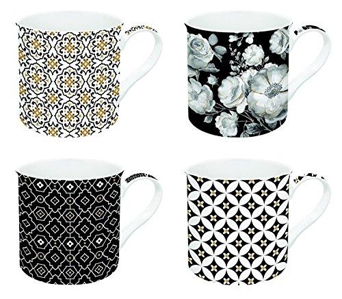 Easy Life 179TCBL Coffret 4 Mugs, Porcelaine, Noir, 30 cm