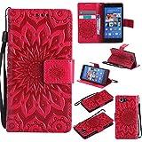 Sony Xperia Z3 Compact / Mini Hülle, Conber Leder Handyhülle mit [Kostenlose Schutzfolie eingeschlossen] [Kartenfächer] [Standfunktion], Sony Xperia Z3 Compact / Mini Leder Schutztasche Klappetui Ledertasche Handyhülle, Vintage Emboss Stil Sonne Muster Leder Handy Schutzhülle für Sony Xperia Z3 Compact / Mini - Rot