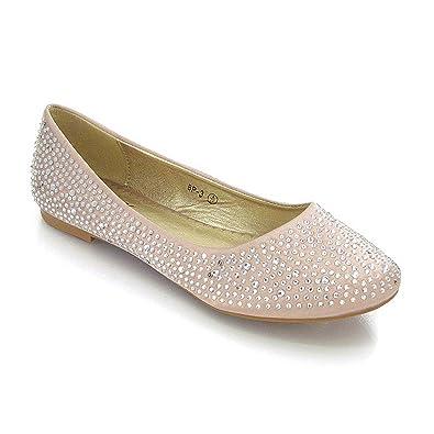 NEW WOMENS BRIDAL DIAMANTE WEDDING LADIES SPARKLY SLIP ON BRIDESMAID SHOES PUMPS SIZE 3 4 5 6 7 8 Amazoncouk Shoes Bags