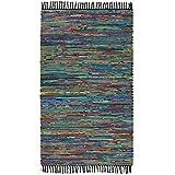 Indian Arts Flickenteppich, Fair Trade, handgefertigt, aus recycelter Baumwolle und Fleece, Tuquoise, 90 x 150 cm