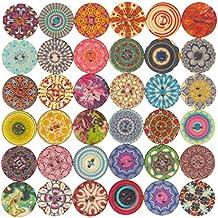 SODIAL Bottoni in legno a forma di fiore rotondo con 2 fori in legno per confezione da 25mm confezione da 100 pezzi
