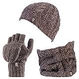 HEAT HOLDERS - Damen-Thermo-Fleece Kabel Wollmütze, Nackenwärmer und Converter Handschuhe Satz (Kitz)