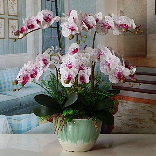Jnseaol Kunstblumen Orchidee Keramik Topf Diy Hochzeit Hotel Party Küche Fensterbank Eine Große Dekoration Muttertag Geschenk Weiß-09