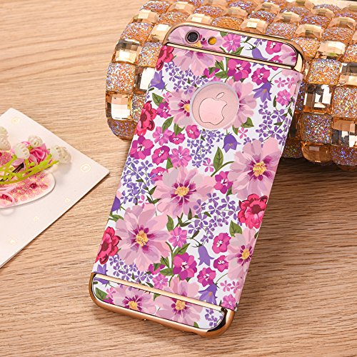 "iPhone 7Plus Handyhülle, Glitzer Leuchtend Design CLTPY Elegant Malerei Muster iPhone 7Plus Hartcase Dünne Hybrid Glanz Überzug Bumper 3-pieces Schale Etui für 5.5"" Apple iPhone 7Plus (Nicht iPhone 7) Rosa rote Blume"