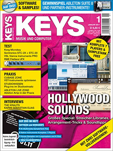 Keys 1 2011 mit DVD - Hollywood Sounds - NI Komplete 7 Player Software auf DVD - Personal Samples - Free Loops - Audiobeispiele