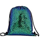 One BFD Shiny Metallic Or Sequin Draw String Gym Bag Nap Sac Dap Sack Dap Sac RE Bag Boot Bag Festival Shoulder BagSwimming Bag PE Bag Sparkly Shiny Sequin Dance Bag Matallic Shiny Tote Bag Foldable Hand Wash One Size Fits All For Ladies Girls Teens Boys Men Festival Holiday Drawstring Beach Bag (Green Sequin)