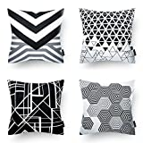 Phantoscope Decorative New Decorative Throw Pillow Case Cushion Cover 18' x 18' 45cm x 45cm (Geometric Black&White)