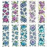 Trasparente di Sticker, FIORI IN BLU/VIOLA, 10cm x 30cm, 10fogli